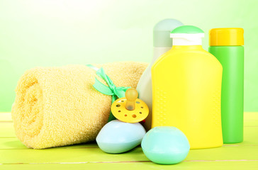 Baby cosmetics, soap and towel