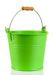 Empty green bucket isolated on white