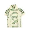 Dollar folded into shirt isolated on white