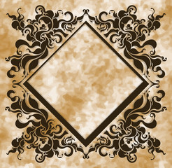 Vintage frame on aged background. Vector illustration.
