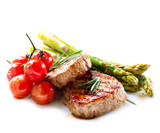 Fototapeta Kawa jest smaczna - Grilled Beef Steak Meat over White © Subbotina Anna