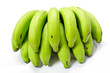 A bunch of green banana bundle on white background