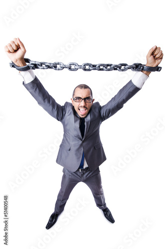 Businessman with handcuffs on white