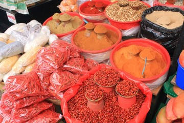 Hot peppers and spices at Mexican farmers market