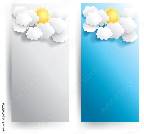Sunny weather banner in various background