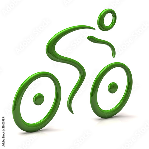 Green cyclist icon