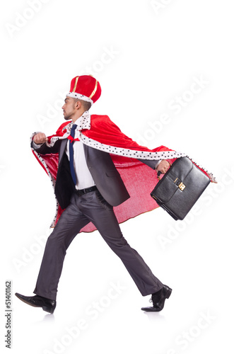 Businessman playing king isolated on white