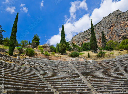 Ruins of amphitheater in Delphi, Greece