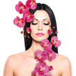 woman with beautiful face and fresh flowers