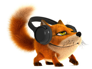 Fox in the headphones