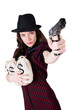 Woman Gangster With Handgun On...