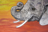 Elephant with tusks poster