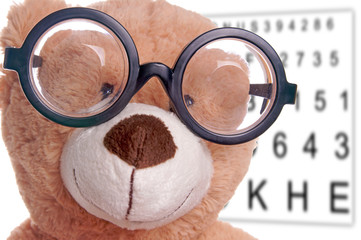 Teddy with glasses at the eye doctor