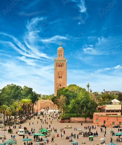 Main square of Marrakesh in old Medina. Morocco.