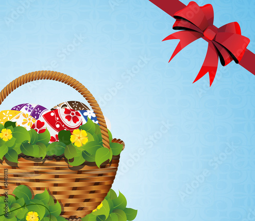 Easter Basket on a blue background