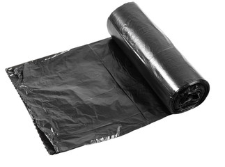 A roll packages for garbage isolated on white.