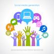 Social media generation vector poster