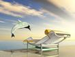 Springender Delfin mit Liegestuhl