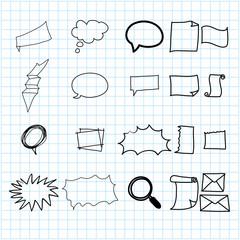 hand drawing doodle stationary cartoon set