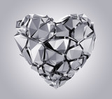 3d silver broken heart isolated