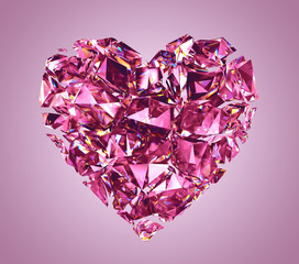 broken pink crystal heart isolated