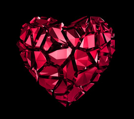 abstract ruby red crystal broken heart