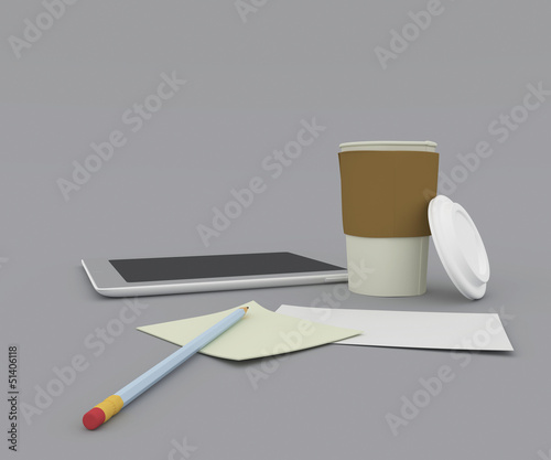 Office supplies, gadgets and coffee cup