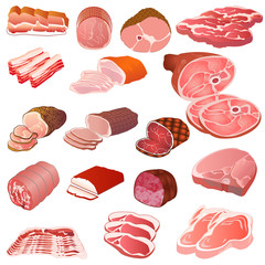 set of different kinds of meat
