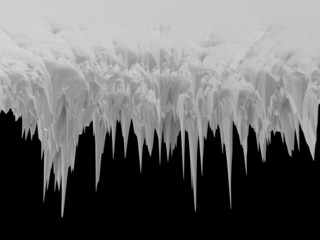 3d abstract isolated icicle landscape