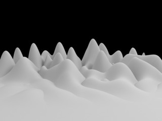 3d white abstract wavy landscape background