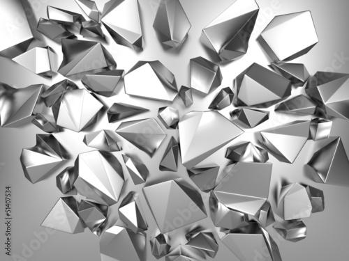 Fototapeta 3d silver metallic abstract crystal background