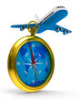 compass and airplane on white background. Isolated 3D image