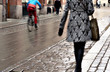 Woman on wet street
