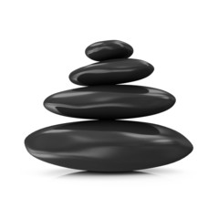 Pile of Black Spa Stones isolated on white background