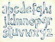 Hand-drawn letters of the alphabet