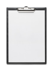 Clipboard with blank paper sheet isolated on white background wi