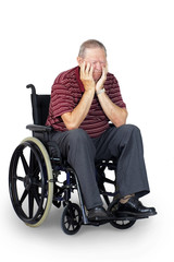Sad senior in wheelchair