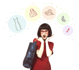 Style hipster girl with bag.