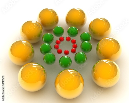 management concept with multi-coloured spheres of small