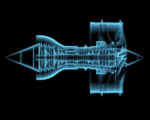 Turbo jet engine (3D xray blue transparent)