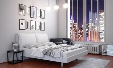 Urban Bedroom at Night