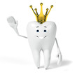 canvas print picture 3d rendered toon character - funny tooth