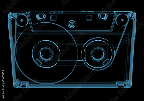 Audio cassette tape (3D xray blue transparent)