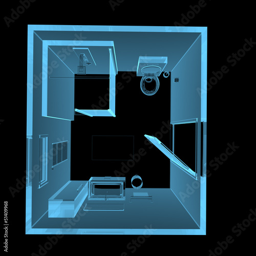 Bathroom (3D xray blue transparent)