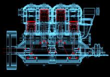 Moteur à combustion interne (radiographie 3D rouge et bleu transparent)