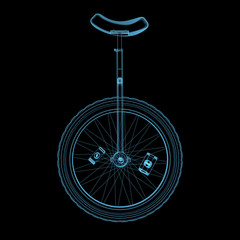 Unicycle (3D xray blue transparent)