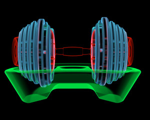 Dumbbell (3D xray red, green and blue transparent)