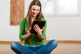 Young woman doing online dating