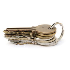 Keys stacked and on keyring isolated