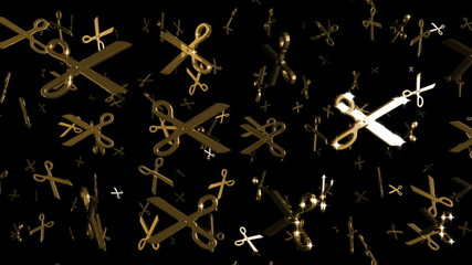 Looping Silver and Gold Scissors Symbols Falling